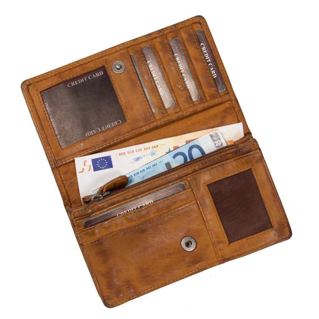 Justified® - Roma - Portemonnee - Wallet - Leer - Cognac