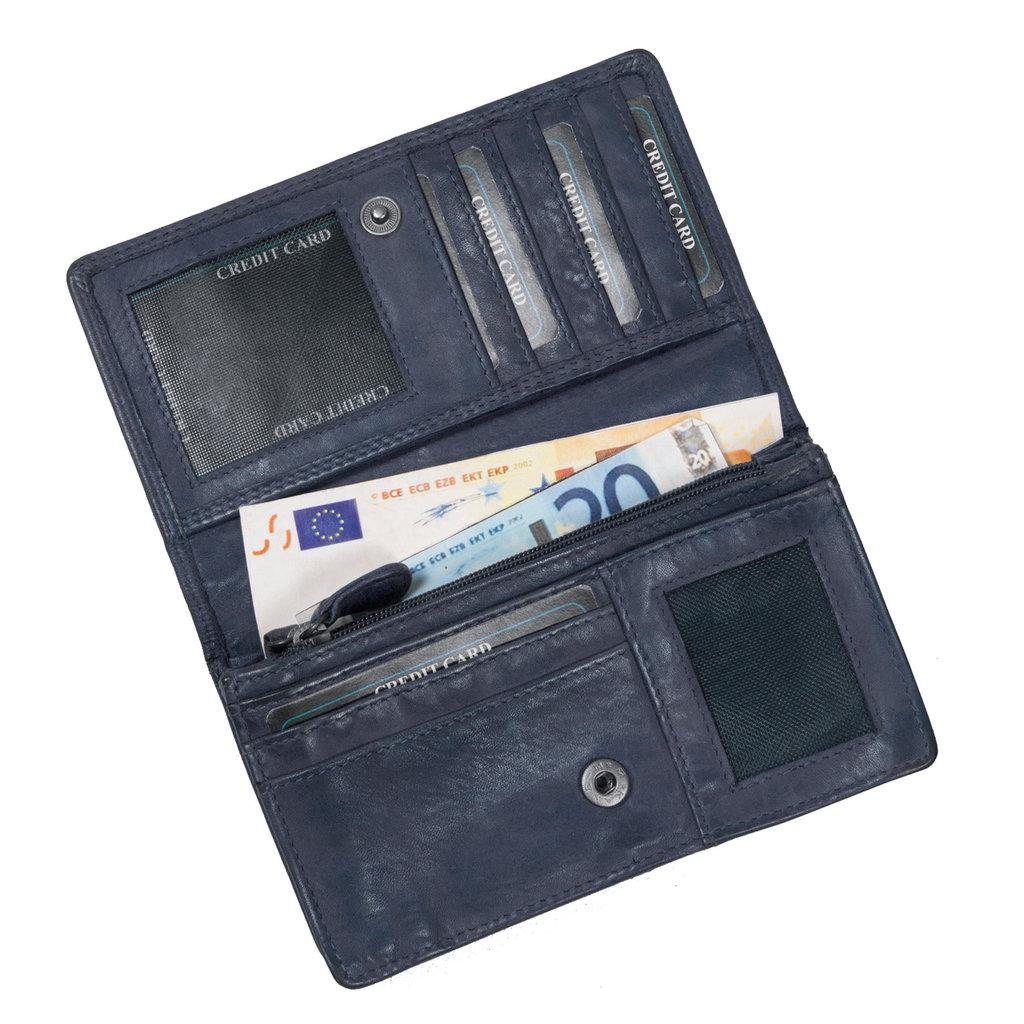 Justified® - Roma - Portemonnee - Wallet - Leer - Navy Blauw