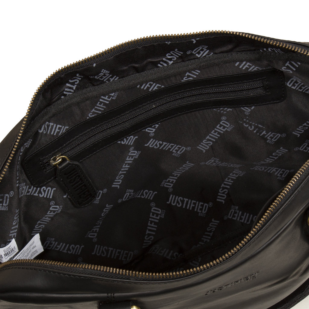 Justified Bags® - Max  Laptop Businnes Bag - Laptoptas - Aktetas - 13'' Laptop -  Leer - Zwart