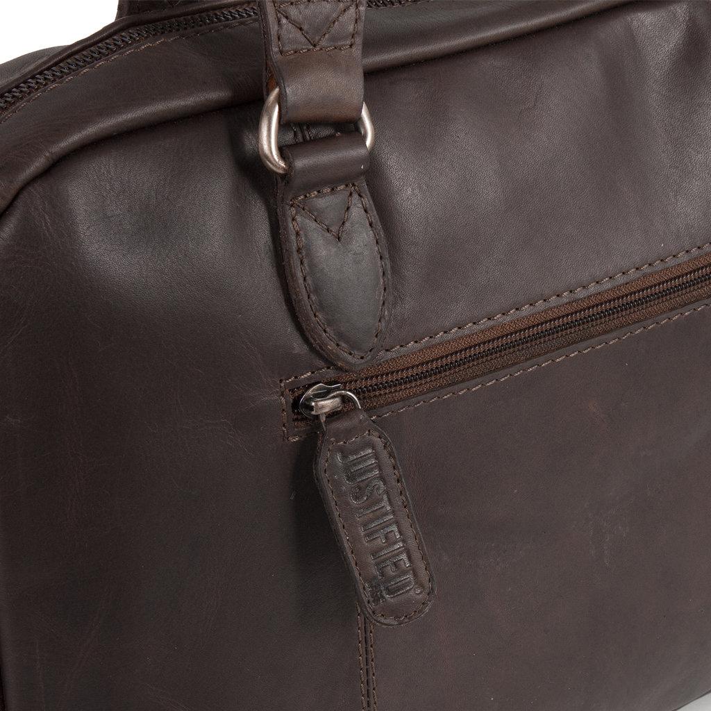 Justified Bags® - Max  Laptop Businnes Bag - Laptoptas - Aktetas - 13'' Laptop -  Leer - Bruin