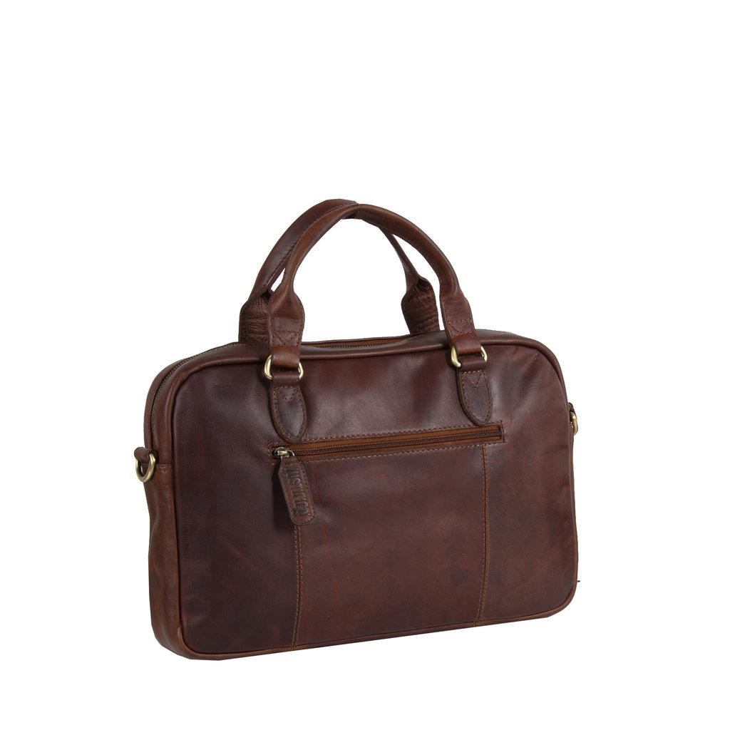 Justified Bags® - Max  Laptop Businnes Bag - Laptoptas - Aktetas - 13'' Laptop -  Leer - Cognac