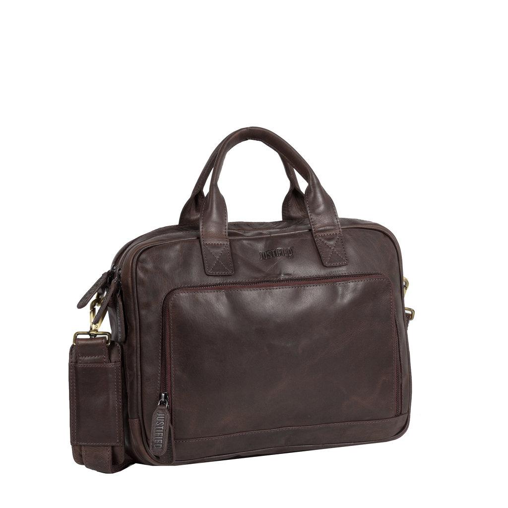 Justified Bags® - Max  Business Bag - Laptoptas - Aktetas - 13'' Laptop - Leer - Bruin