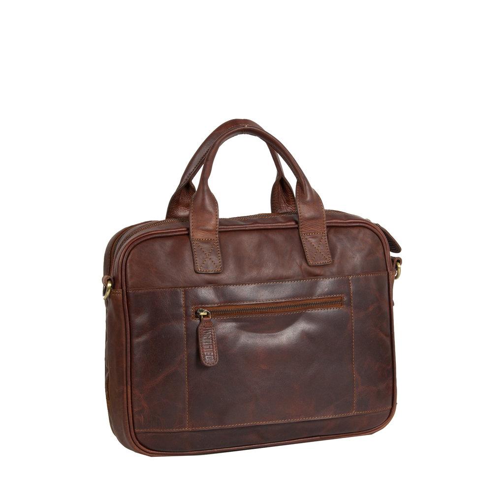 Justified Bags® - Max Laptop Business Bag - Laptoptas - Aktetas - 13'' Laptop - Leer - Cognac