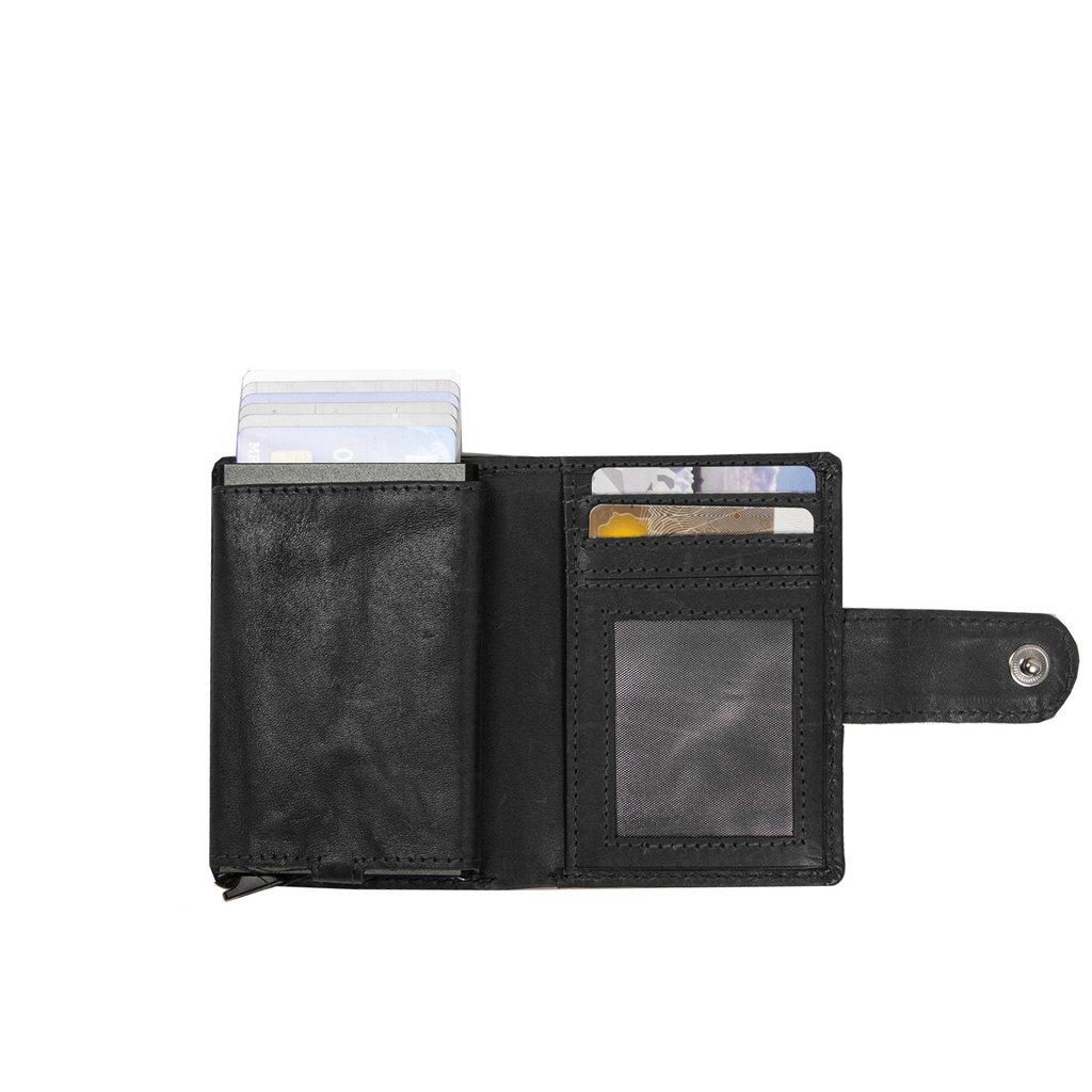 Burned Leather Creditcard Holder Coinpocket+ Box Black