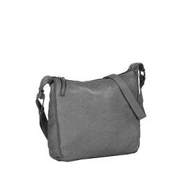 Saira big shoulderbag top zip grey