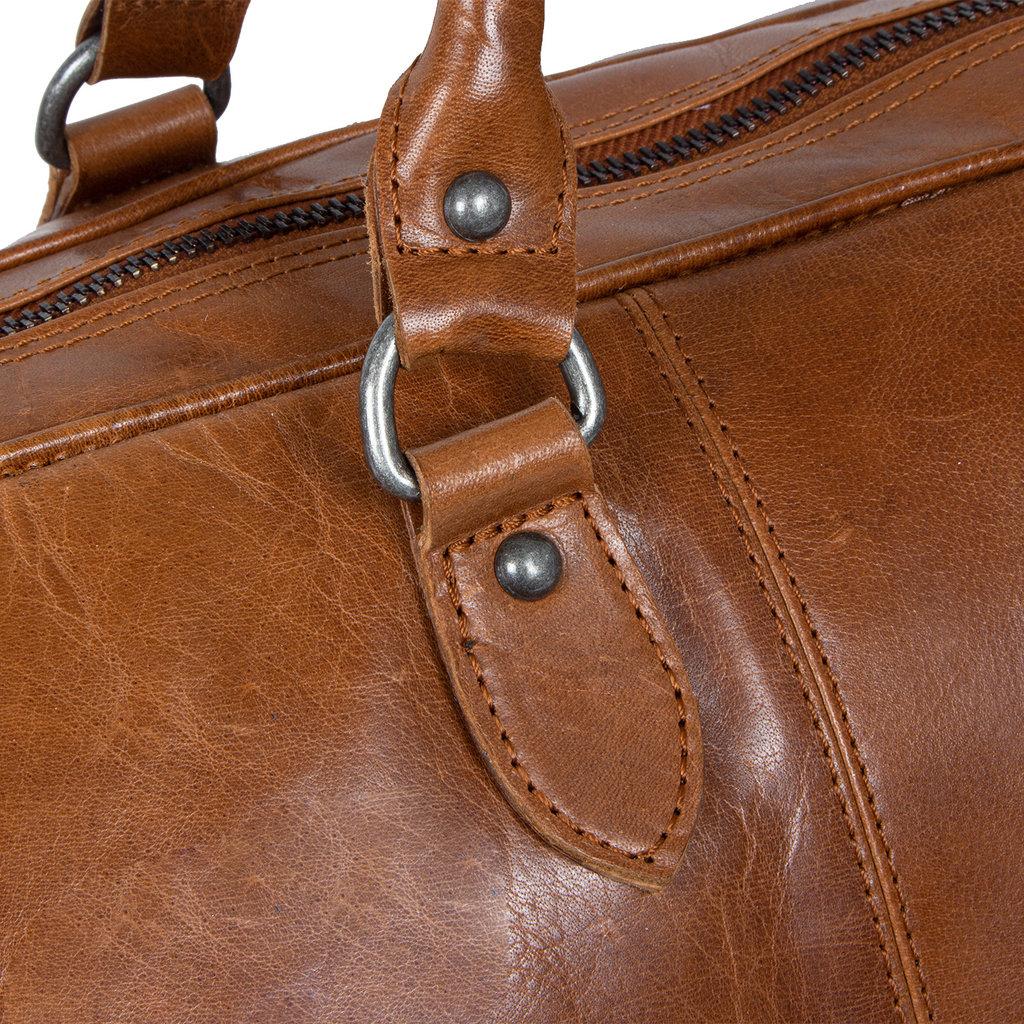 Justified Bags® - Mantan Duffel - Weekendtas - Reistas - 44L - Leer - Cognac