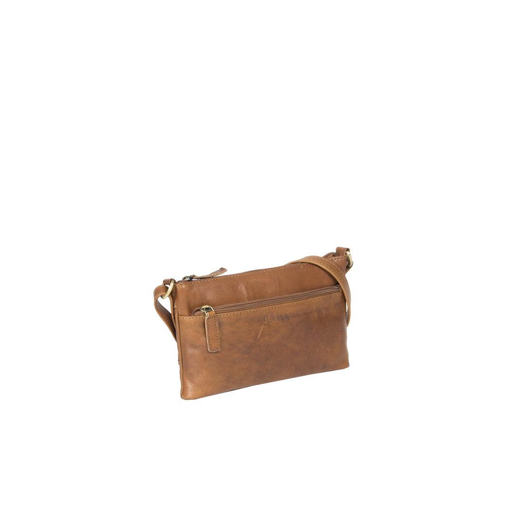 Deborah cognac Leather shoulderbag 2 comp topzip