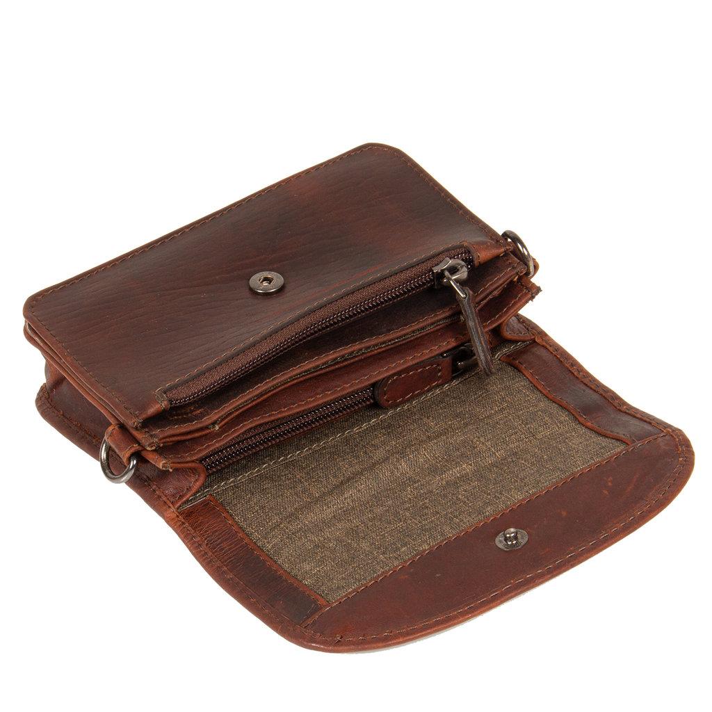 Justified Bags® Deborah - Small flap - Crossbody Bag - 17x4x12cm - Brown