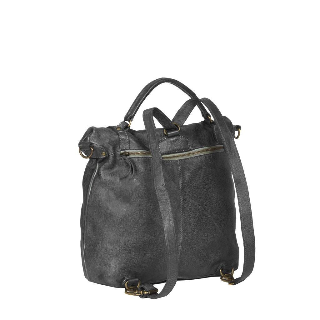 Justified Bags® - Sakura - Rugzak - Handtas - Shopper - Leer - Zwart