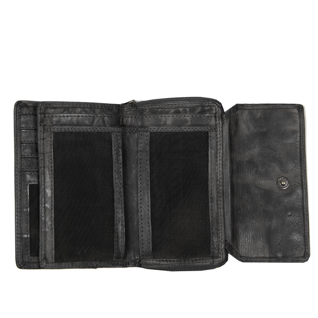 Justified Bags® Chantal - Wallet - Small - Leather -13x4x10cm - Black