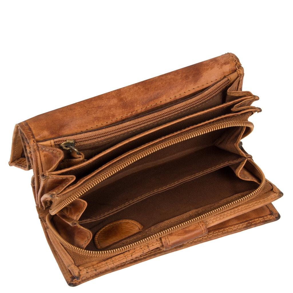 Justified Bags® Chantal - Wallet - Leather - 15x4x10cm - Cognac