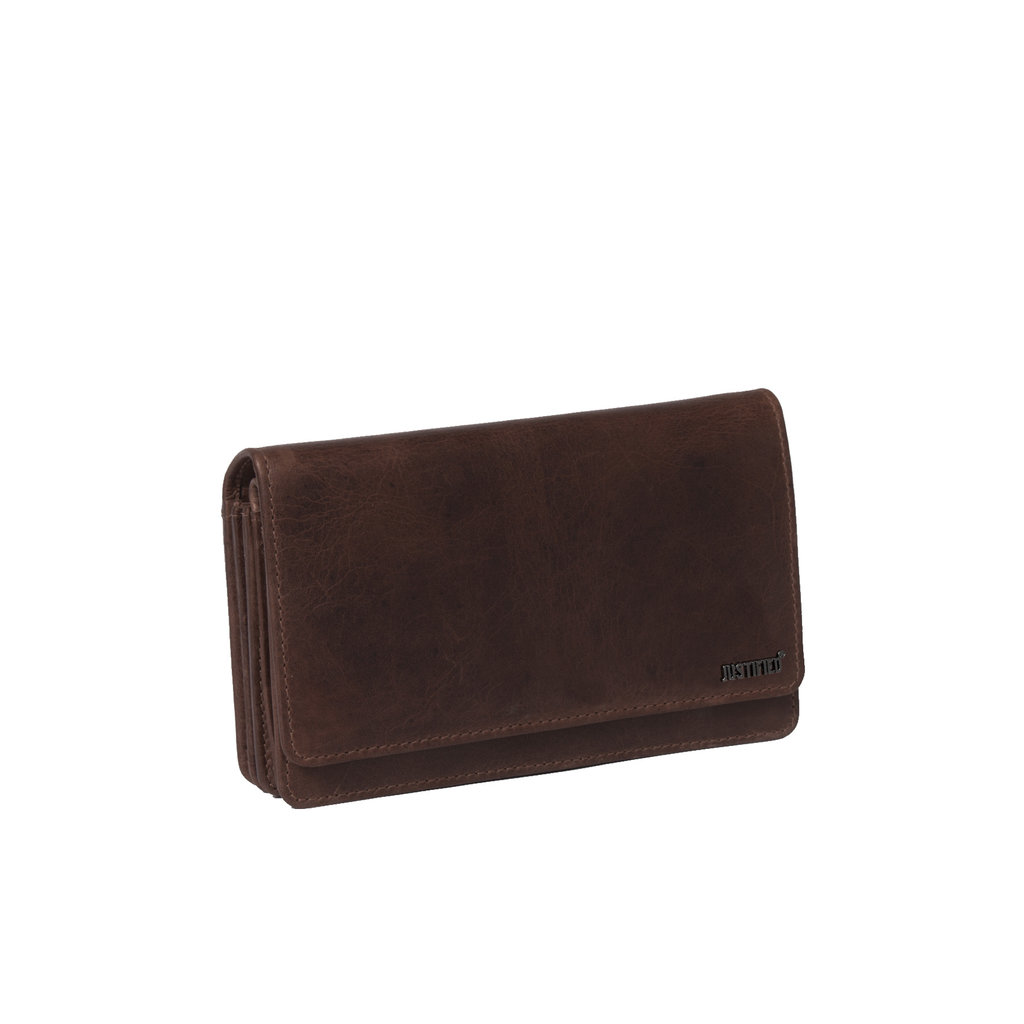 Justified Bags® Nynke - Wallet - Leather - 16x5x10cm - Brown
