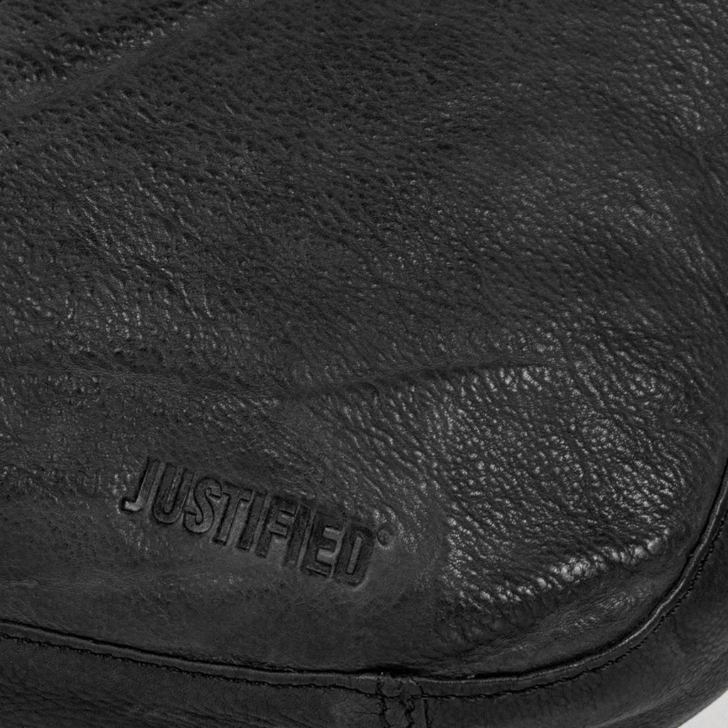 Justified Bags® - Saira - Shoulder bag - Zipper - Leather - 26x9x18cm - Black