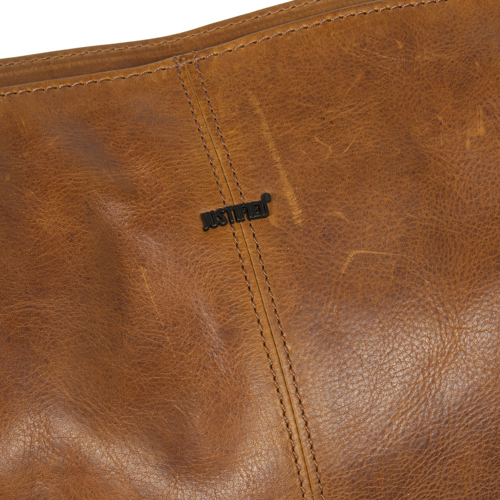 Justified Bags® Dyon - Shopper - Handtas - Schooltas - Leer - 36x12x32cm - Cognac