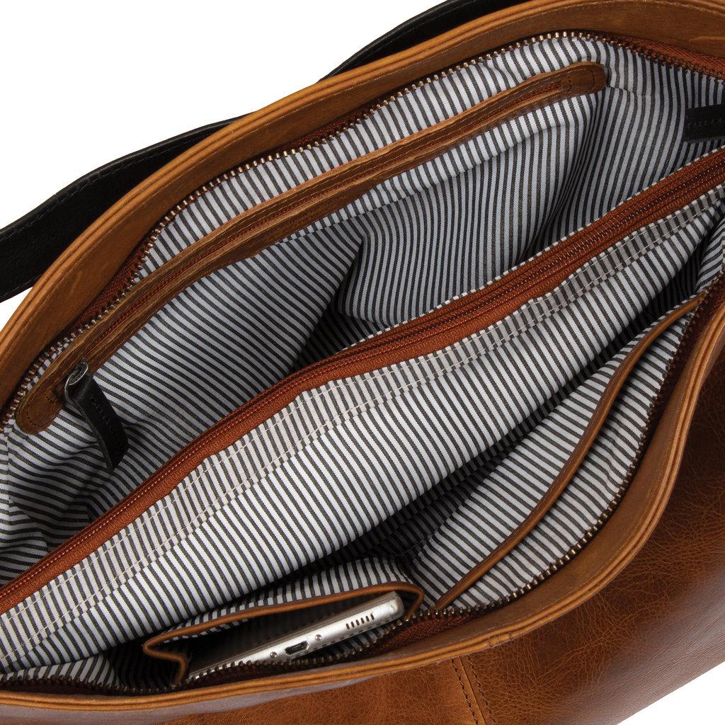 Justified Bags® Dyon - Shopper - Handbag - Schoolbag - Leather - 36x12x32cm - Cognac