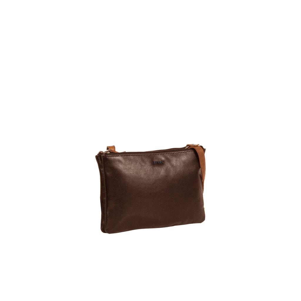 Justified Bags® Dyon - Schoudertas - Crossbody Tas - Top zip - 2 tone - 25x4x18cm - Bruin