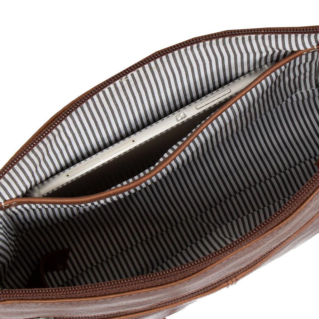 Dyon Brown shoulderbag top zip 2 tone