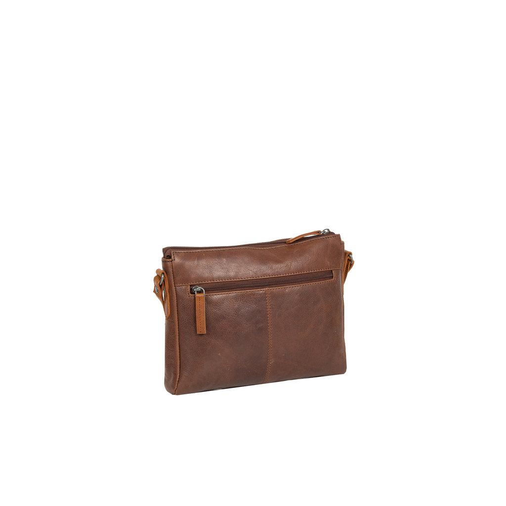Justified Bags® Dyon - Schoudertas - Crossbody Tas - 2 ritsen - 2 tone - 25x5x20cm - Bruin