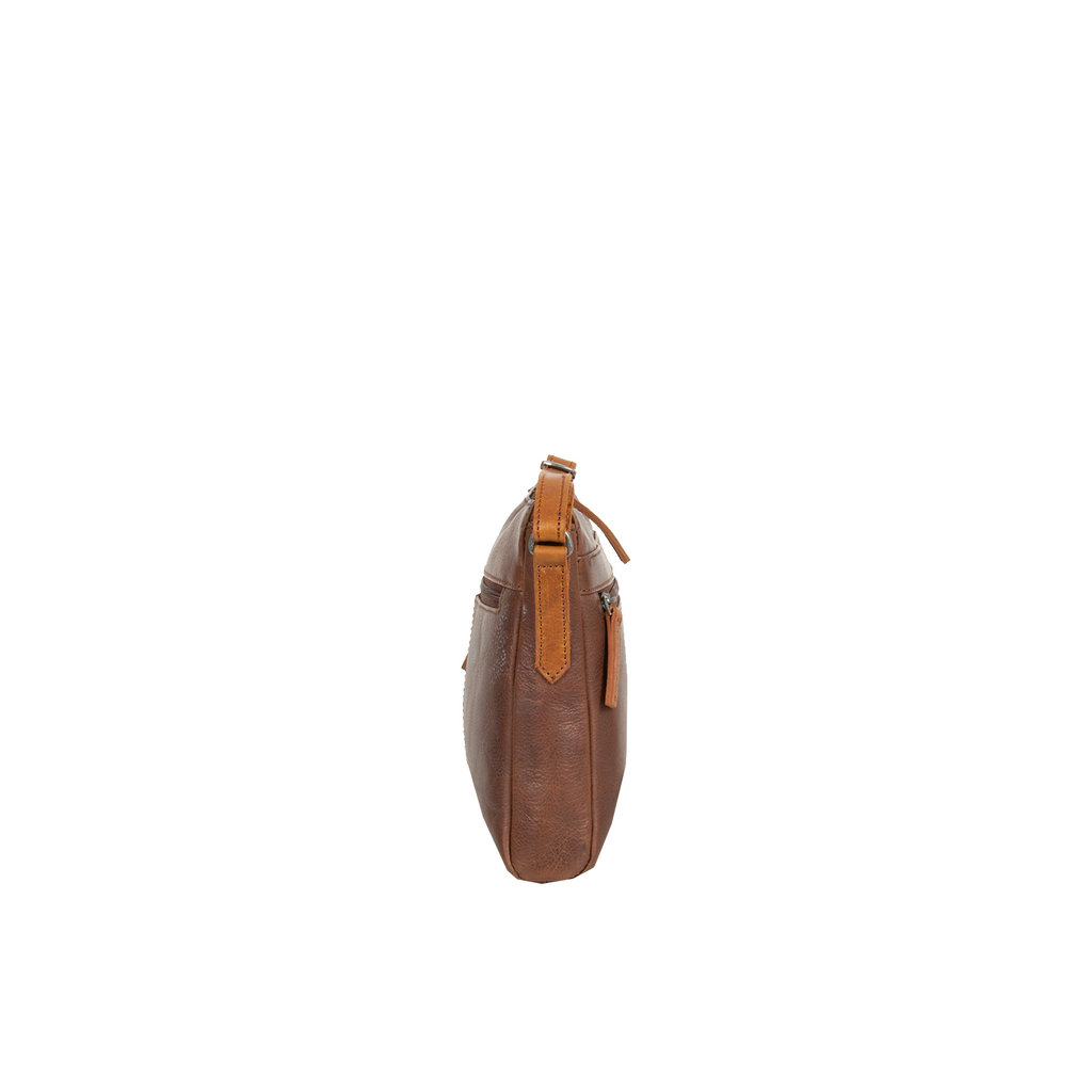 Justified Bags® - Dyon - Shoulder Bag - Crossbody Bag - 2 zippers - 2 tone - 25x5x20cm - Brown