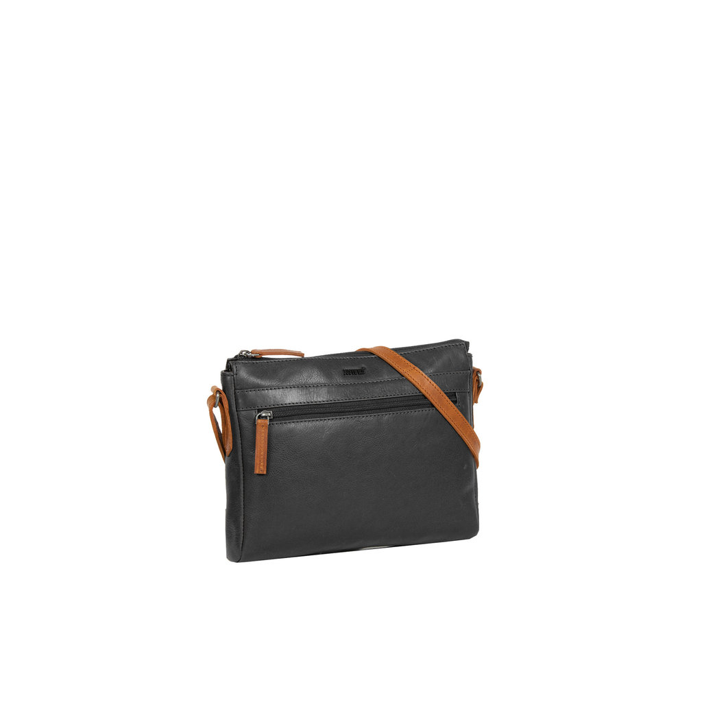 Justified Bags® Dyon - Schoudertas - Crossbody Tas - 2 ritsen - 2 tone - 25x5x20cm - Zwart