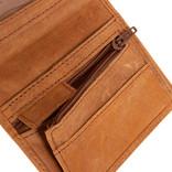 Leather nappa 12 card holder cognac coins pocket inside + box
