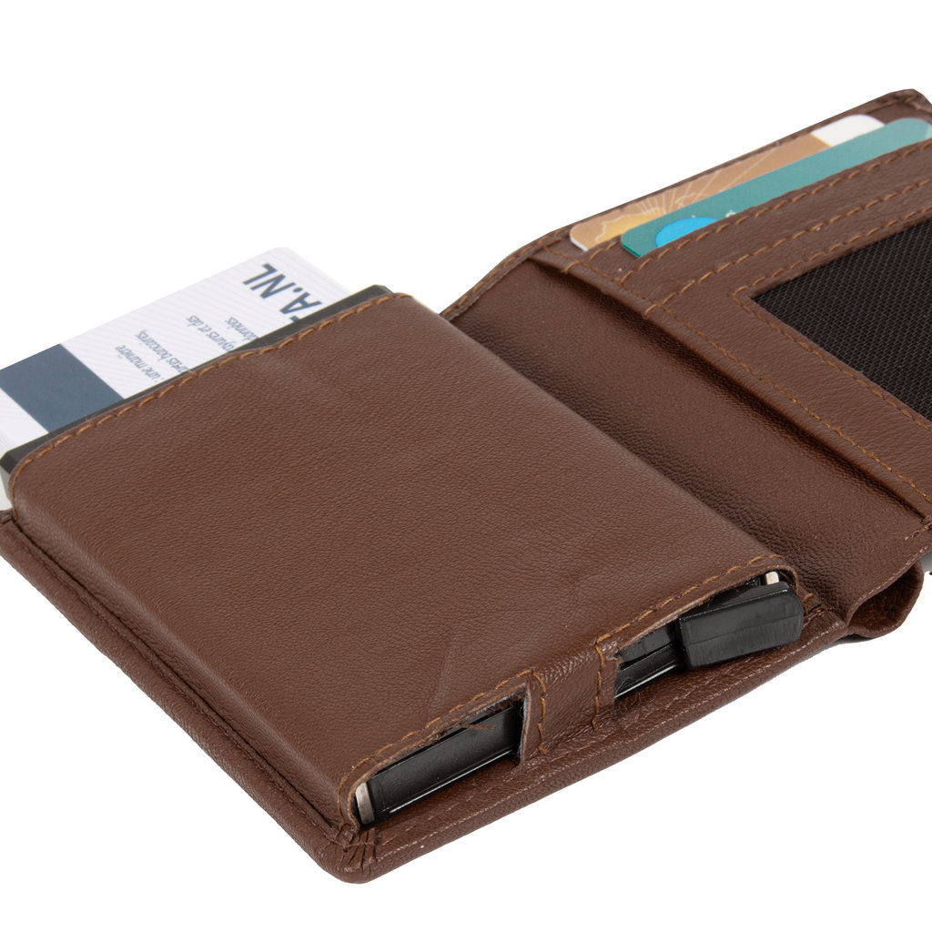 Leather nappa credit case holder + backside coin brown + box