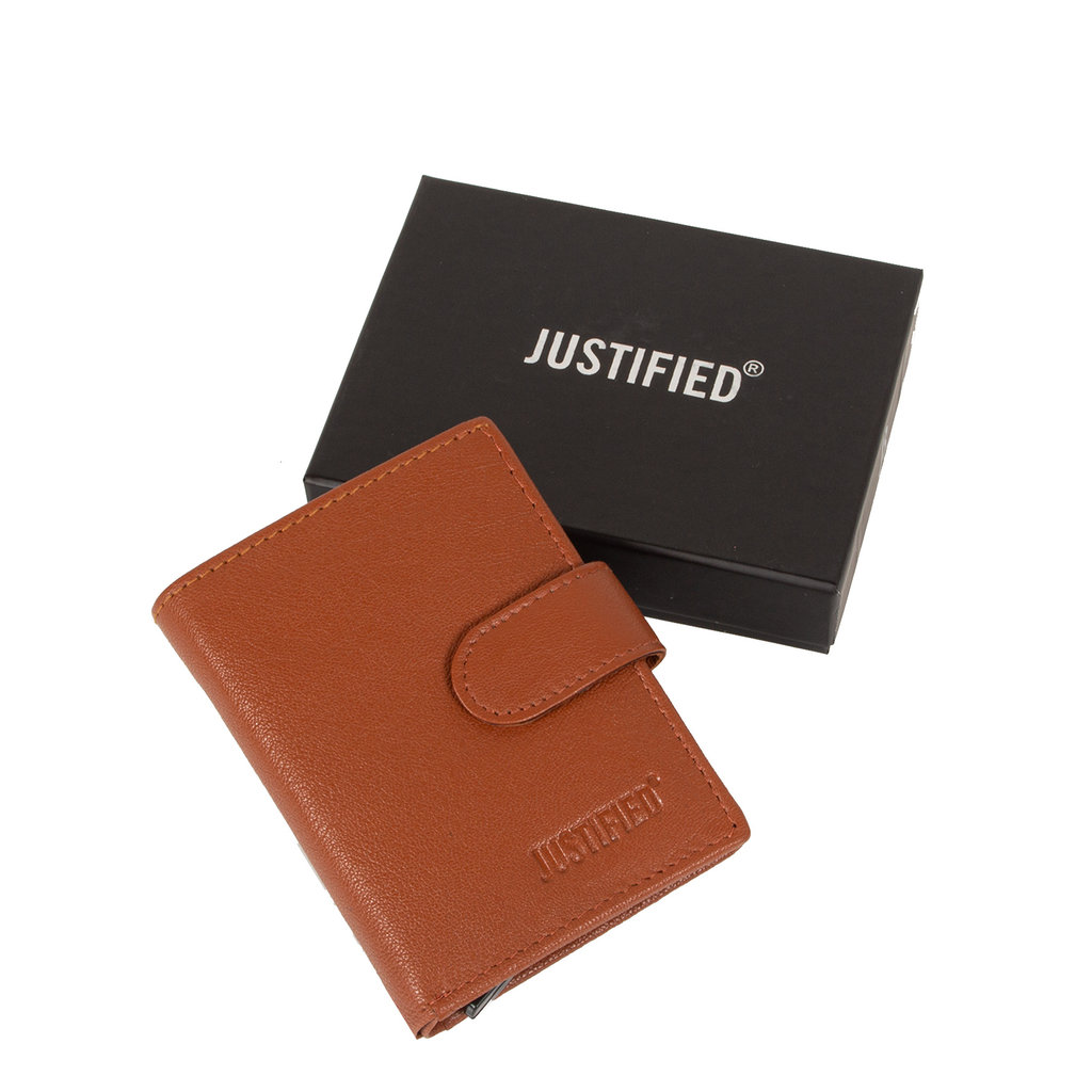 Leather nappa credit case holder + backside coin Cognac + box