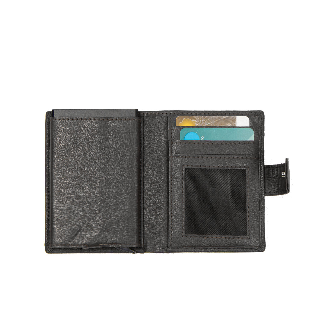 Leather nappa credit case holder + backside coin black + box