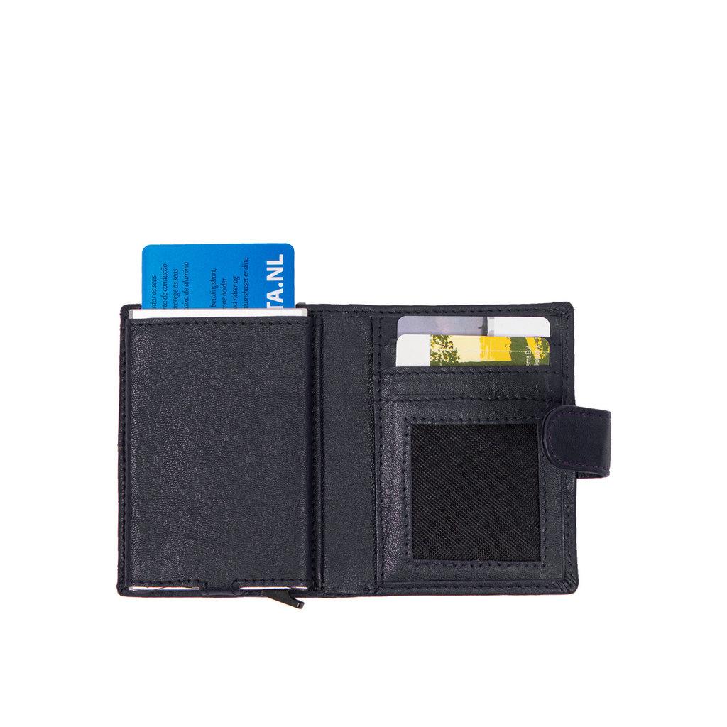 Leather Nappa credit case holder navy + box