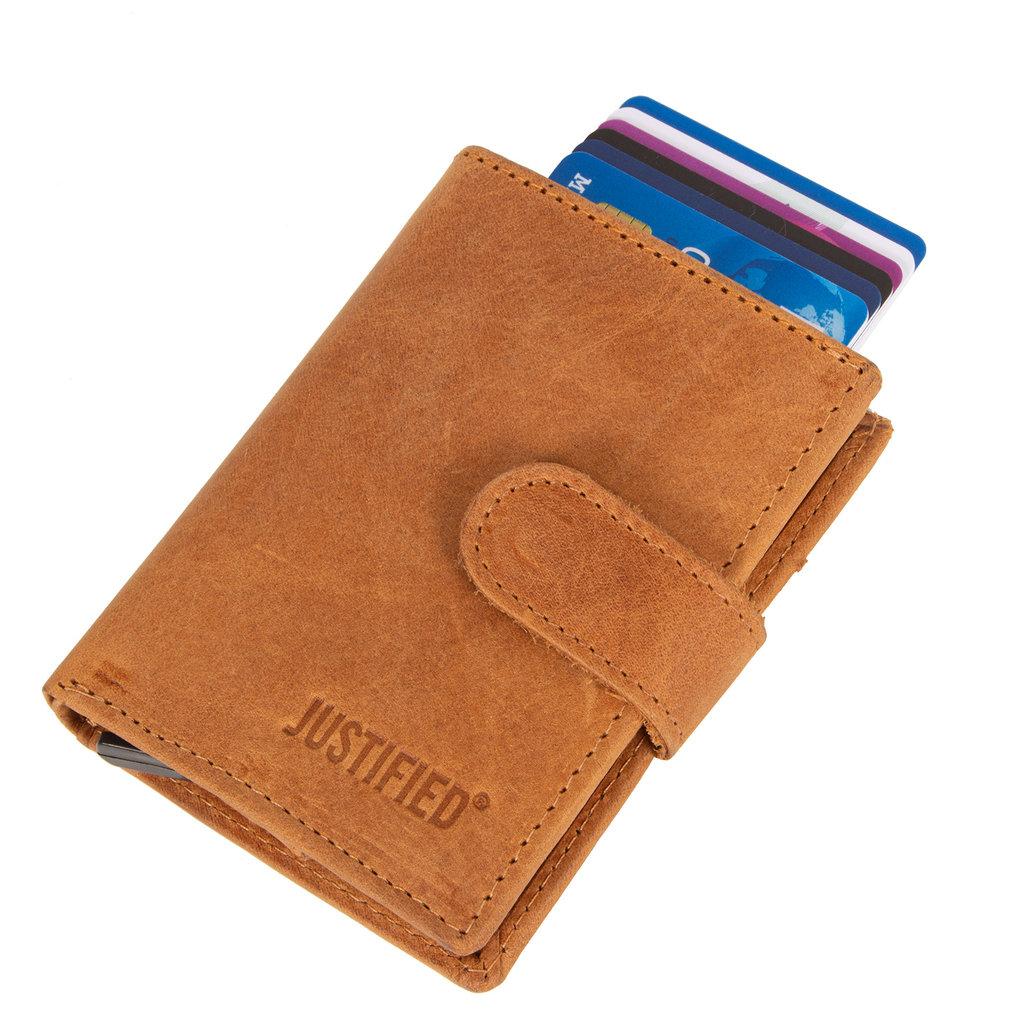 Leather hunter credit case holder cognac + box