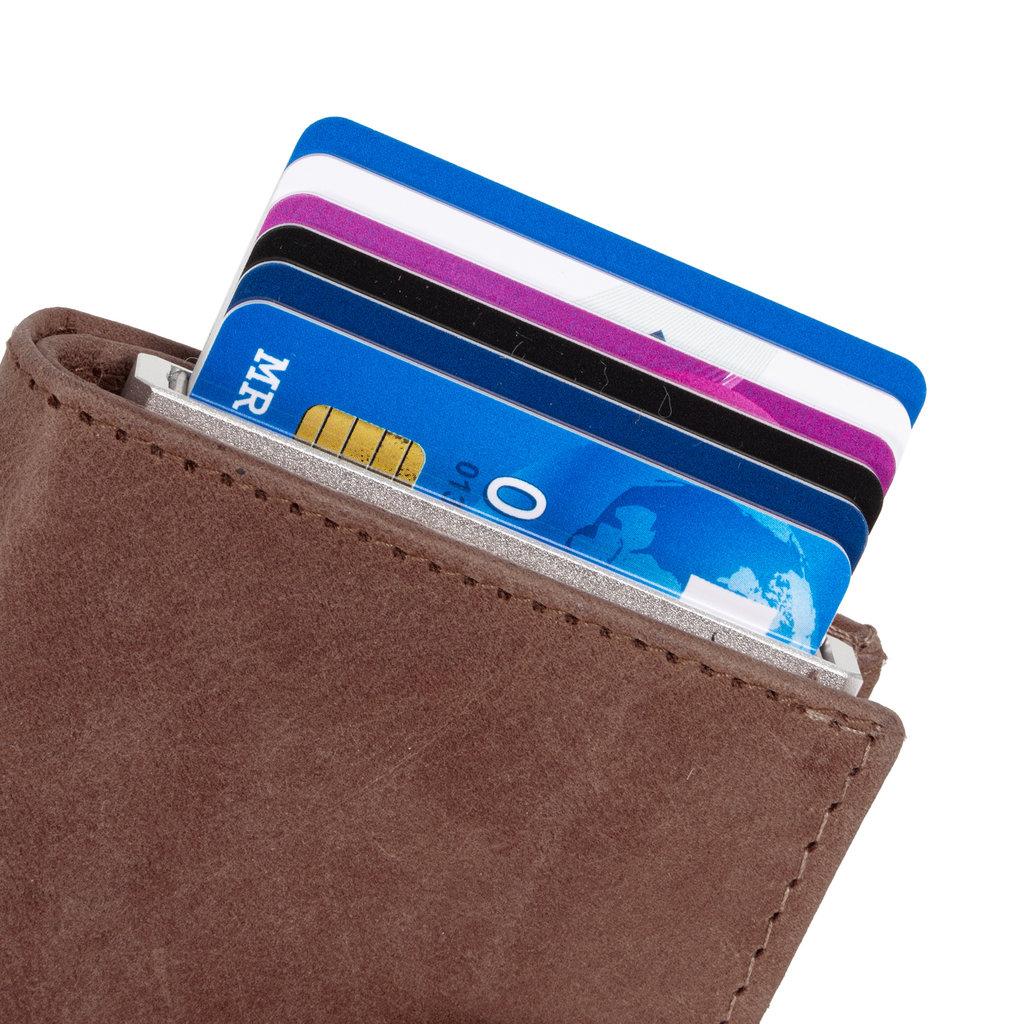 Leather hunter credit case holder brown + box