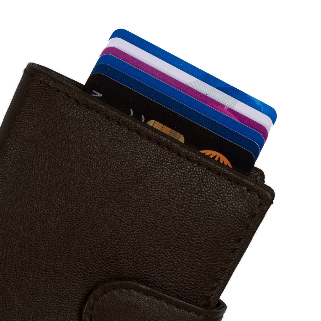 Leather Nappa credit case holder brown + box