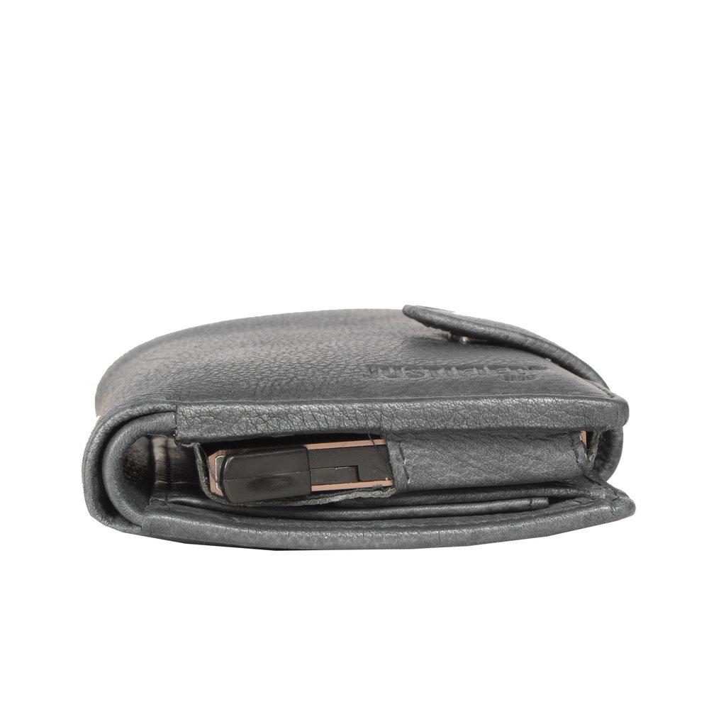 Kailash Leder creditcard holder grey + coin pocket + box