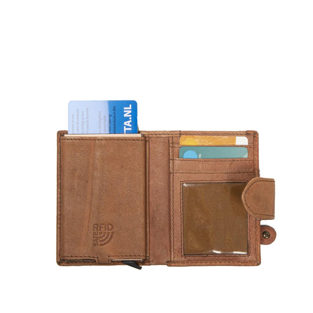 Kailash Leder creditcard holder cognac + coin pocket + box