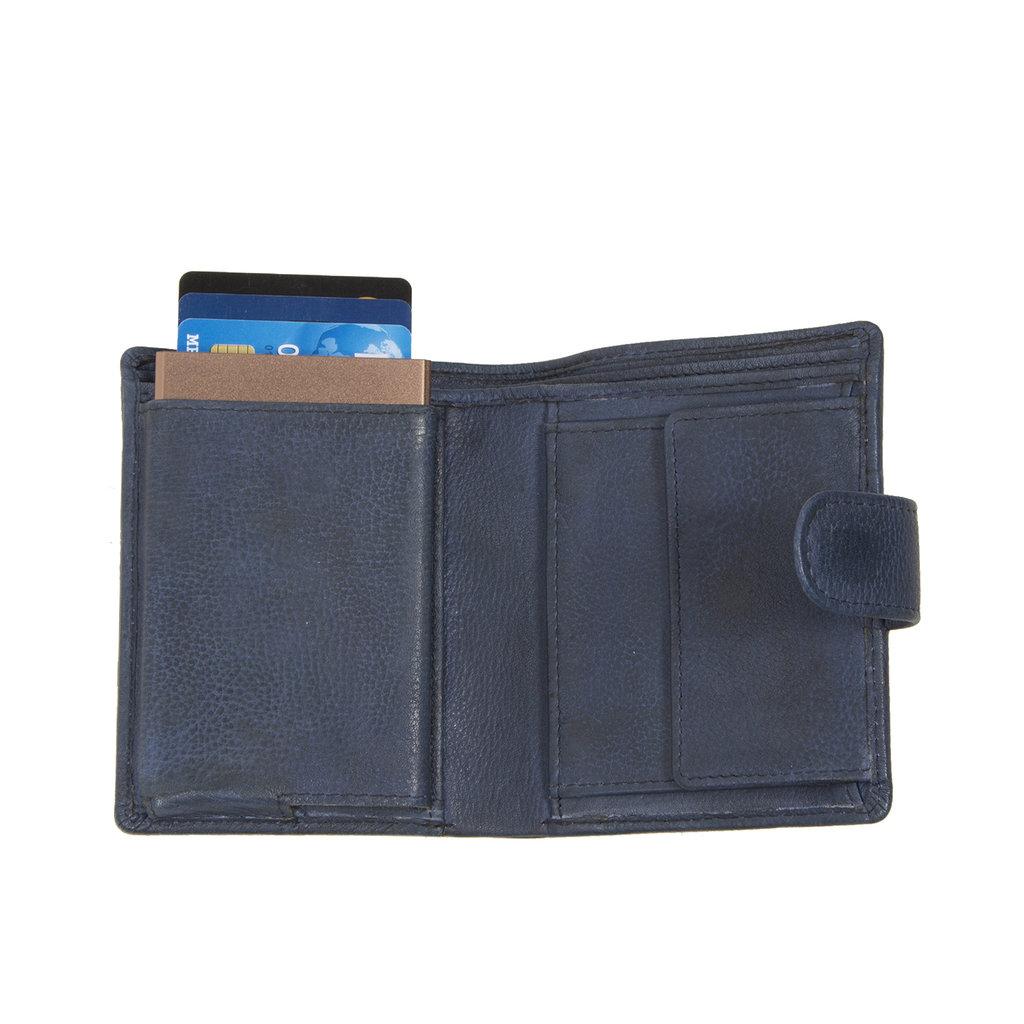 Kailash Leder creditcard holder cobalt + coin pocket + box