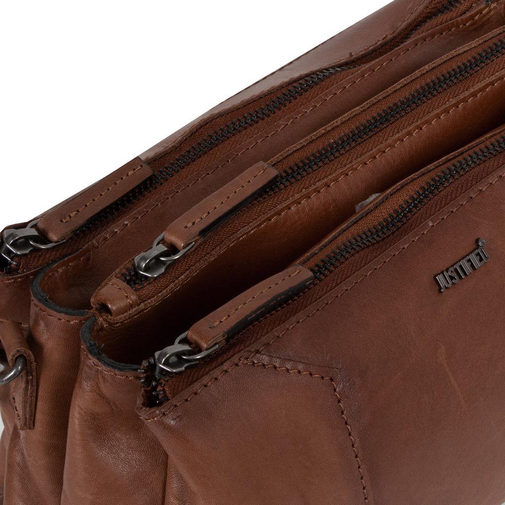 Justified Bags® Pluto Flamed 3 Compartimenten Shoulderbag Brown