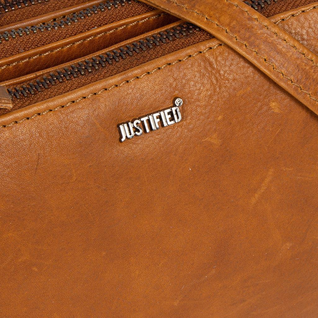 Justified Bags® Nynke Tripple Top Zip  Schoudertas Cognac