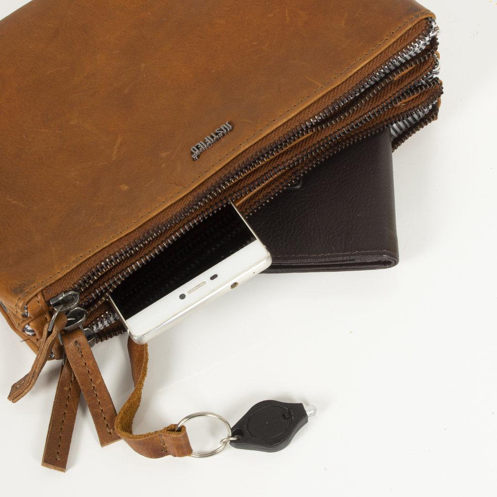 Justified Bags®  Nynke Tripple Top Zip Shoulderbag Cognac