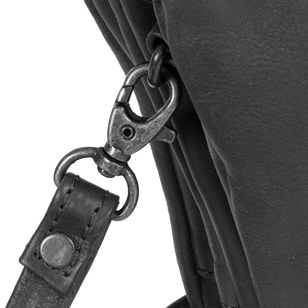 Justified Bags® Nynke Tripple Top Zip Schoudertas Zwart
