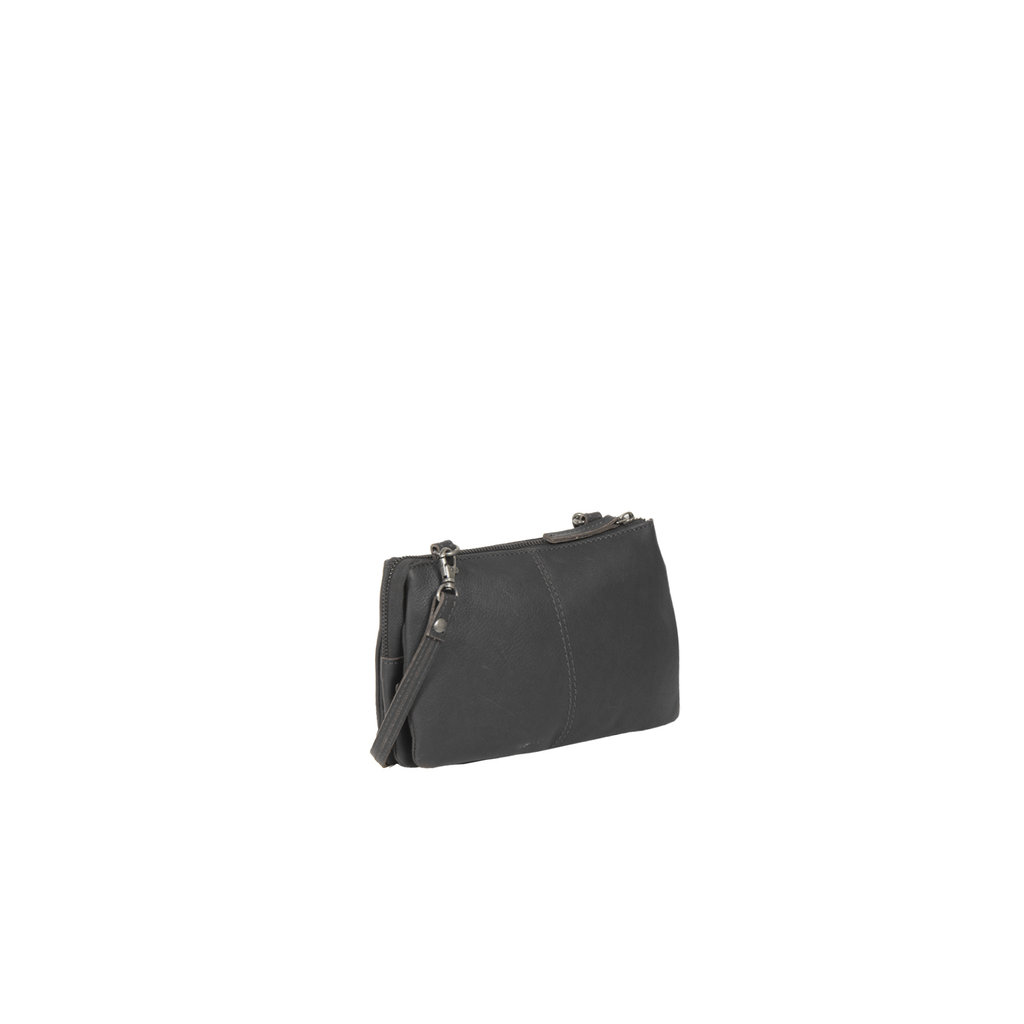 Justified Bags® Nynke 3 compartimenten 1 Top Zip Shoulderbag Black