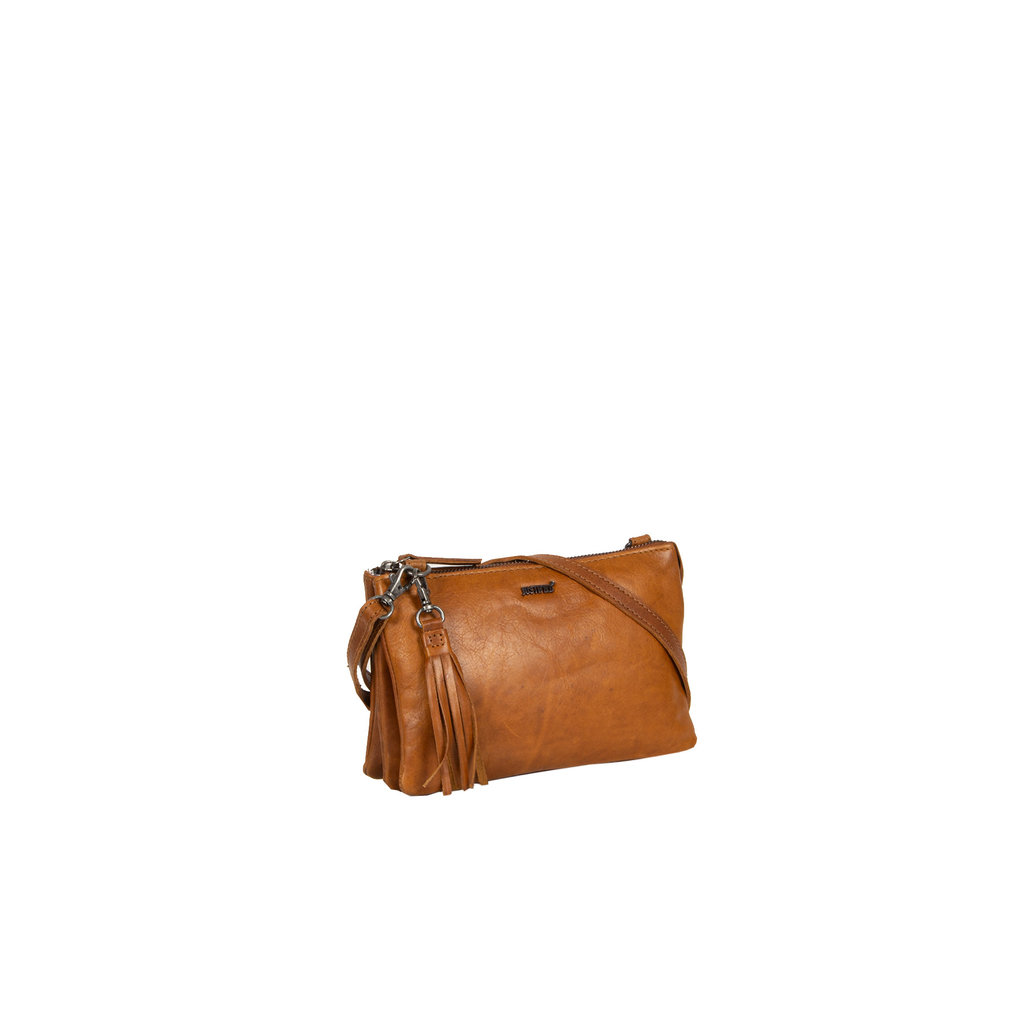 Justified Bags® Nynke 3 compartimenten 1 Top Zip Shoulderbag Cognac
