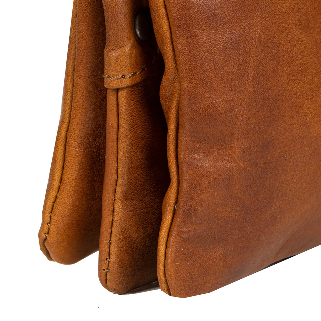 Justified Bags® Nynke 3 compartimenten 1 Top Zip Schoudertas  Cognac