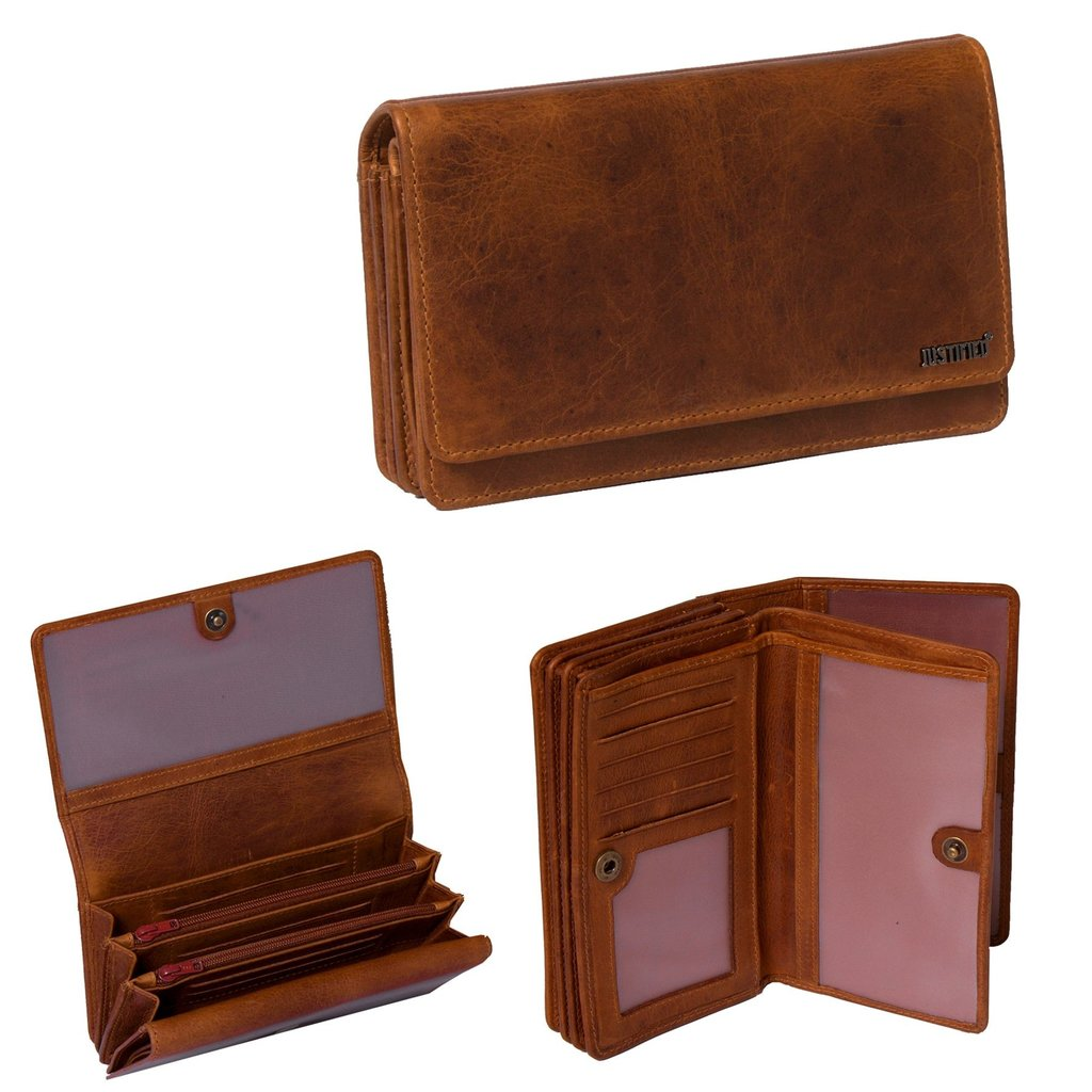 Justified Bags® Nynke - Wallet - Leather - 16x5x10cm - Cognac