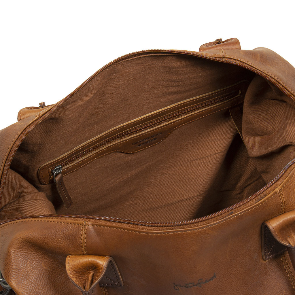 Justified Bags® Dyon - Weekendtas - Handtas - 2 tone - 53x19x38cm - Cognac