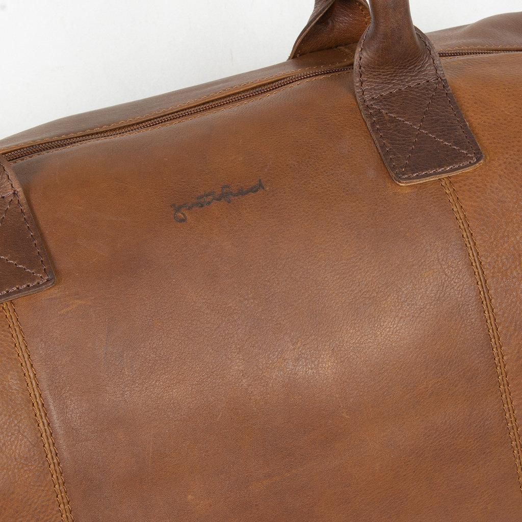 Justified Bags® Dyon - Weekend bag - Handbag - 2 tone - 53x19x38cm - Cognac