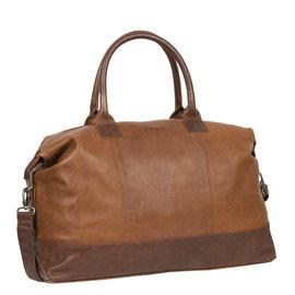 Justified Bags® Dyon - Weekend bag - Handbag - 2 tone - Cognac