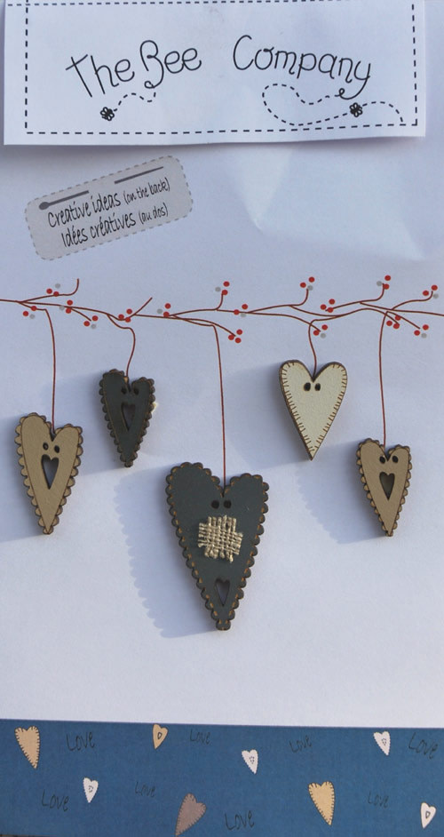5 Blue Hearts Buttons - TB3E