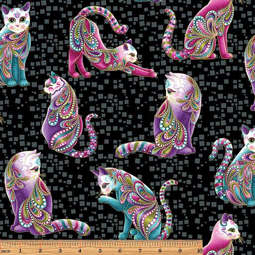 Benartex Cat-I-Tude - Cats Black (01M12)