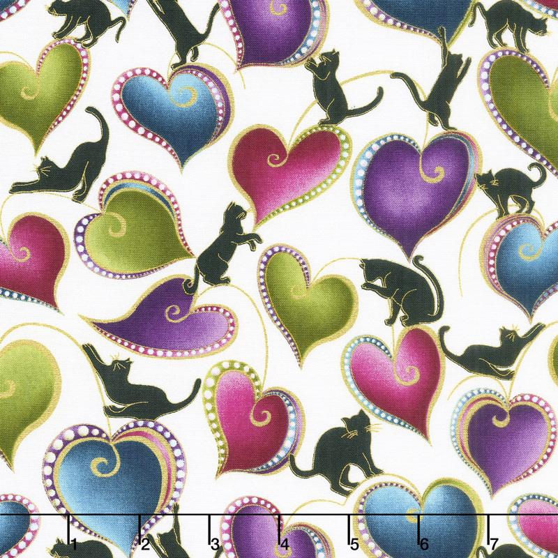 Benartex Cat-I-Tude - Hearts & Cats White