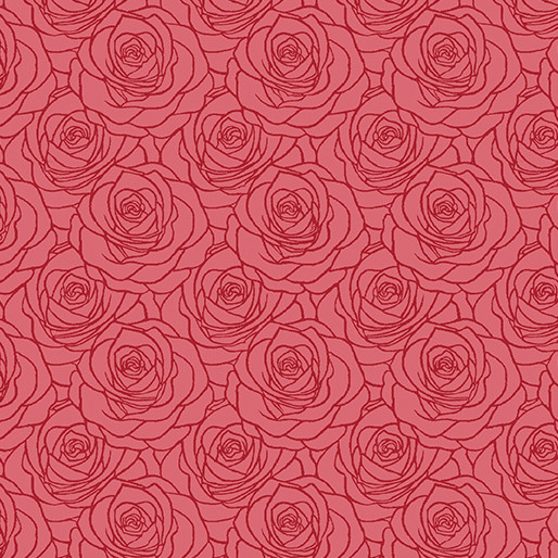 Benartex A Festival of Roses Red - 6642P10